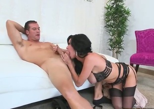 Biggest titted MILF Veronica Avluv in sexy darksome lingerie spreads her long legs after blowjob and gets her wet pussy banged hard with her panties on. This busty experienced woman is fucking horny.