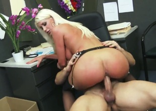 Riley Jenner is one voluptuous blond milf with black stockings thats plan to blow Johnny Castle, give him a great titjob and then get drilled like a real professional whore.