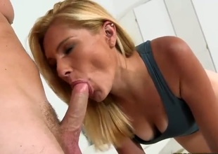 Alexa is one cute milf with skinny figure and bald pink pussy. Attractive petite titty blonde gives headjob and then receives her cunt fucked with her sneakers on. She is good at fucking.