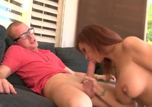 Baldheaded spectacled dude seduces his sexual mother in law to have fuck with him. She wasnt against of it. See Syren De Mer showing billibongs and giving nice fellatio.