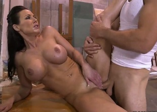 Kendra Lust with big ass jerks man off