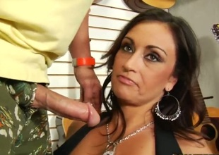 Brunette with phat booty and clean bush knows no limits when it comes to eating her fuck buddys pole