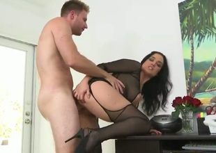 Lingerie-clad sexy MILF takes on dick