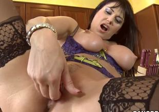 Beautiful Eva Karera is one of the hottest milfs u could ever ask for! Shes freaking horny and in need of a large cock, and fingering herself doesnt help. Luckily, her neighbour drops by...