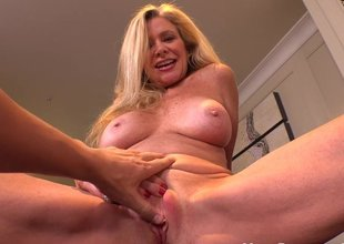 Hot blonde cougar loves young cock