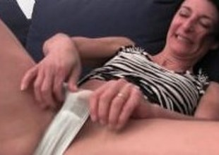 Hirsute granny has a wet spot in her panties