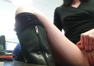 Flashing at work with co-workers right behind her
