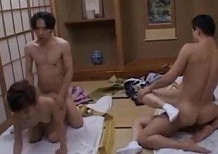 Japanese amateurs enjoy group fuck