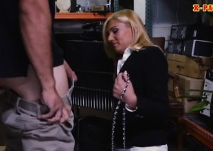 Sexy blonde milf screwed in storage room