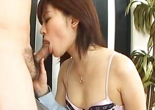 Nasty babe drools over this hard cock