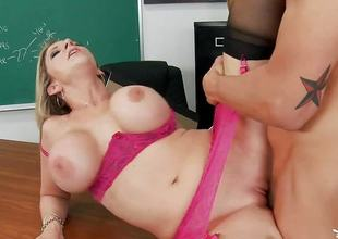 Busty teacher Sara Jay agreed to fuck her student
