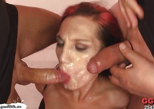 Filthy babes plastered with cum