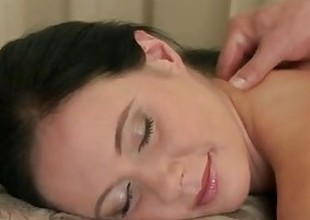 Massage Rooms MILF hirsute cunt acquires stretched and creamed on by big dick