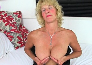 English milfs Molly and Diana strip off their clothes