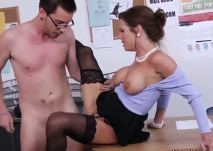 Business woman Veronica Avluv is a boss of local company. Dane Cross is her new office worker and today is his first working today. Veronica decided to show him his real responsibilities.
