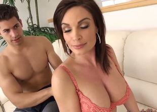 Seductive brunette milf Diamond Foxxx with massive stunning balloons and wet ass gives memorable blowjob to handsome Giovanni Francesco and gets her minge licked and drilled.