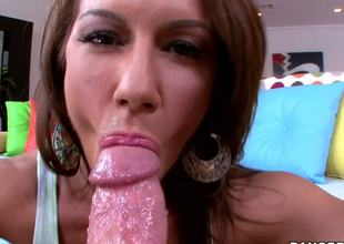The seducing dark brown milf Inari Vachs shows how much she loves engulfing the big hard piston feeling its every tense inch and also zealously licking the full balls