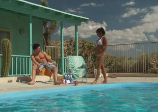 Incredibly hot and lascivious milf India Summer approaches her guy by the pool hoping that there will be some wild act to satisfy her lust.