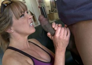 The licentious milf with large melons Callie Cyprus is furiously sucking the huge black piston and opens the legs to take it deeply into the orgasm begging vagina