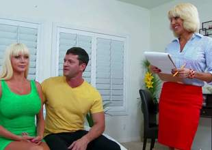 Mature Tara Holiday is a sex pro who teaches Preston Parker how to seduce nice-looking women like big titted bombshell Nikita Von James. Soon he finds his hard fat dick handled by two passionate big racked milfs