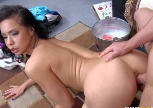 Kimmy Lee is a dangerously horny exotic MILF with big tits. She gets her big pointer sisters and her taut shaved asian pussy drilled good and hard by her sons roommate Jessy Jones. Watch big titted mom fuck like crazy!