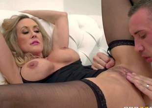 Brandi Love is one of those busty milfs that are hotter with age. This gorgeous woman with huge hooters spreads her legs wide and gets her thirsty pussy used by horny guy. He drills her twat hard and lastly makes her squirt