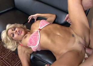 Nice looking older blonde Tara Holiday with long legs and big tits is his wifes sex obsessed mom. This hot experienced woman in barley there pink bra and high heels loves getting her neatly trimmed pussy banged hard again