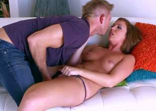 Gorgeous and carnal brunette honey Maddy Oreilly enjoys in seducing her precious friend and neighbour Bill Bailey and gets a nasty fingering and pounding from him on the couch