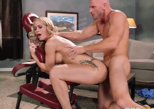 Hot bodied golden-haired MILF Simone Sonay with nice big hooters screams like crazy as she gets ehr pink wet pussy pounded doggy style by horny Johnny Sins in the middle of the room. Shes on the way to orgasm of her lifetime!