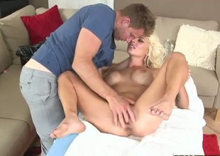 Skinny blond--haired mom Kali with charming smile, juicy boobs and petite ass receives her tight pink hole fingered by MILF Hinter before shew takes his powerful cock from behind. See sexy MILF get shagged!