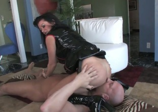Hardcore MILF fantasy. Staring porn star Christian XXX and Raquel Devine. This is one hot movie. Just sit back and watch as this older woman squats over this studs face, and gets him to lick her tight pussy. Then she forces him to suck on her strap on, be