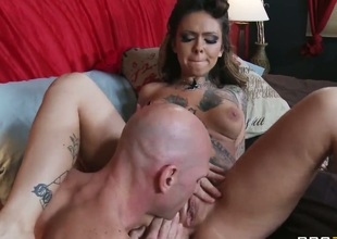 Brunette Julia Bond with huge boobs spends her sexual energy with Johnny Sinss hard man meat in her wet spot