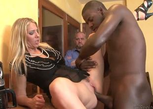 Adorable blonde slut of a wife Jordan Kingsley gets dicked by Julius Ceazhers big overweight ebony schlong in front of her husband and it looks indeed nice and horny.
