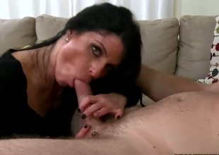 Hot sex with big titted mature brunette