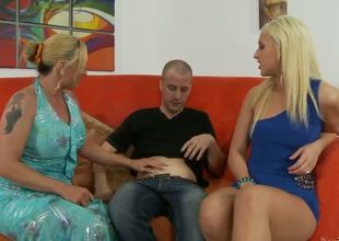 Hot and horny mother caught her young blonde daughter with her new boyfriend in the livingroom! This lady wants to smack his dick previous to it drills her daughters holes.