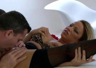 Wet pussy of mature honey is roughly gangbanged