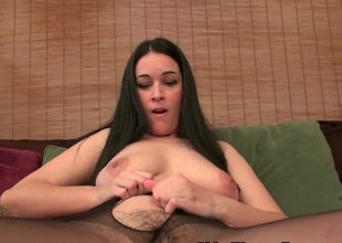 American milf Nyla plays with her nyloned fur pie