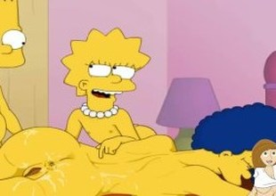 Cartoon Porn Simpsons porn Bart and Lisa have joy with mom Marge