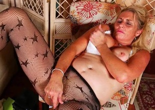 Milfs Cristine and Dalbin get home with new pantyhose