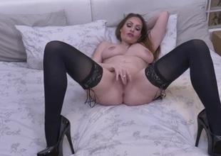 Truly stunning big tits milf masturbates erotically