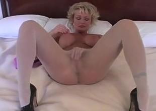 April Johnson blonde in white pantyhose