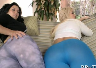 Big ass babes getting rammed on dicks in a foursome