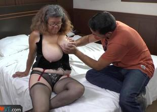 Agedlove granny with big love melons banged