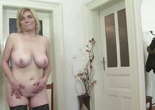 Natural breasty older toying in stockings