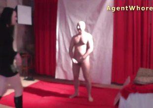 Nasty MILF gives backstage oral-job to casting guy