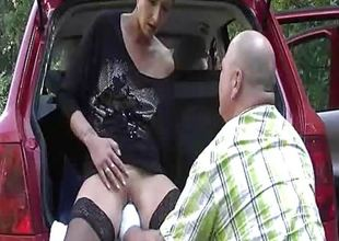 Naughty wife fisted outdoors