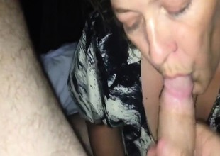 Mature golden-haired sucking on a really big hard knob slowly
