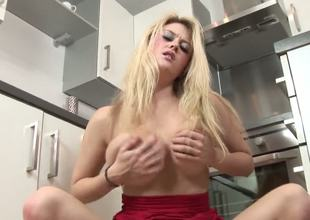 Brook Little has a surprise for you. What it might be Of course its her pussy that's desperate for cock, but nobody is around, so that babe has to explore the depths of her wonderful shaved pussy with her fingers.