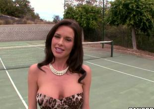 Veronica Avluv is real MILF who desperately needs to spice up her sex life. She comes to a tennis court where she flashes her killer boobs and ass hoping to find a guy for a night.