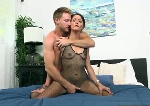 Slutty beauty with short hair is wearing sexy black pantyhose. She is introduced to this college stud who just wants to take up with the tongue her orgasmic pussy.